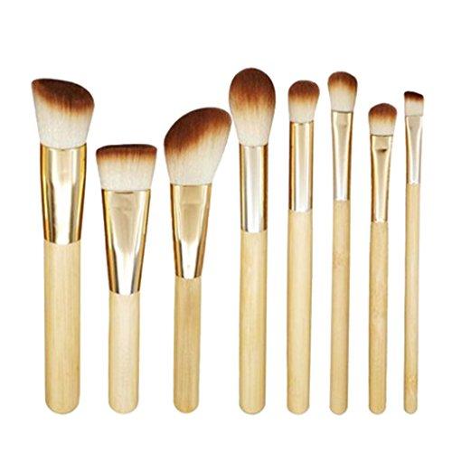 Elenxs 8PCS Bamboo Poudre pour le visage Brusher Fondation Pinceau fard š€ paupiššres Maquillage brosse cosmšŠtiques