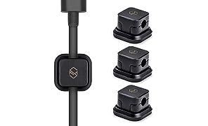 Sinjimoru Kabelhalterung, Magnetische Kabel-Clips/Kabelführung/Organisation/Flexibles Kabelmanagement für USB Kabel. Selbstklebende magnetischer Kabelbinder, Schwarz, 3er Pack.