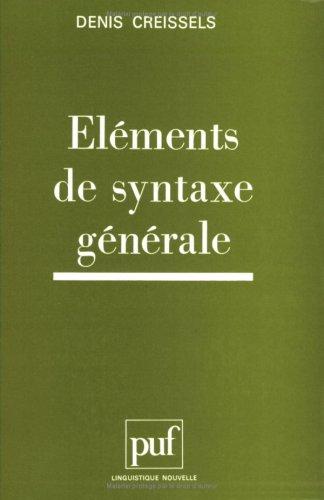 Éléments de syntaxe générale par Denis Creissels