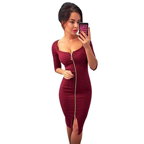 ALISIAM herbst - winter frauen Damenmode Reißverschluss Slim Hüfte Gesäß Kleid amt trägt kleid abend party kleide Partykleid (S, Rot) (2 Pocket-rock)