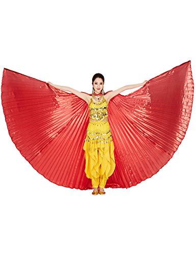 besbomig Damen Bauchtanz Tanz Schleier Flügel Einschließlich Teleskopisch Stöcke/Ruten - 360 Degree Ägypten Indian Tanzen Kostüm Flügel Darstellende Zubehör (Tanz Stöcke Für Kostüm)