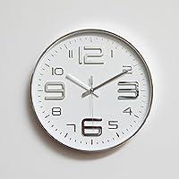 CLG-FLY semplice disattivato grigio argento metallizzato bianco moderno camera da letto soggiorno round telaio sottile home decor orologio da parete orologio 12 pollici,grigio chiaro,con il migliore servizio .