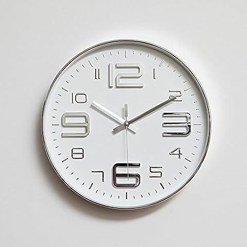 FEI&S semplice disattivato grigio argento metallizzato bianco moderno camera da letto soggiorno round telaio sottile home decor orologio da parete orologio 12 pollici,grigio chiaro,con il migliore servizio .