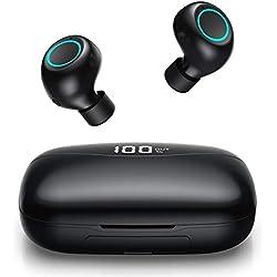 Feob Écouteur Bluetooth sans Fil Oreillettes Bluetooth 5.0【 Mains-Libres TWS Microphone 】 3500mAh Boîte de Charge Autonomie 120Heure CVC 8.0 Casque Stéréo Écouteurs Sport Étanche pour iOS Android