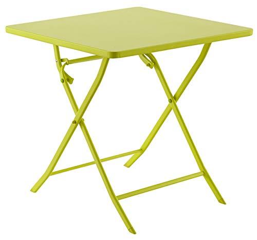 PEGANE Soldes Table de terrasse Carrée Chloé Absinthe en Acier, 70 x 70 x 71 cm