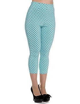 Pantalones piratas de Hell Bunny Azul Kay Lunares de estilo Vintage de los 50s