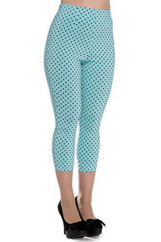 Pantalones piratas de Hell Bunny Azul Kay Lunares de estilo Vintage de los 50s - Azul Celeste (XS - ES 36)