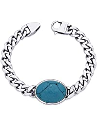 Peora Valentine 316L Stainless Steel Turquoise Blue Bollywood Men's Link Bracelet with Lobster Clasp (PSB704)