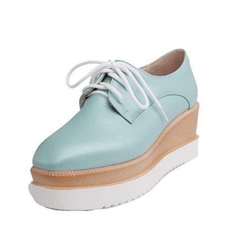 AgooLar Femme Lacet Pu Cuir Carré à Talon Correct Couleur Unie Chaussures Légeres Azur