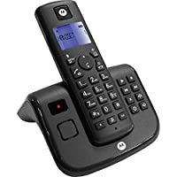 Motorola T211 Cordless Phone with Answering Machine, Digital Display, 200 Hr Standby, Speakerphone, 50 Contact Storage, 10 Ringtone, Outgoing Message, Message Alert, DECT for Home & Office, Black
