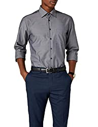 Seidensticker Herren Business Hemd Regular Fit - Bügelfreies Hemd mit geradem Schnitt, Kent-Kragen & Brusttasche, Grau (Grey 67), 39