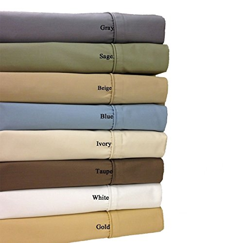 Seidig Salbei (Royal Hotel Cotton-Blend-Falten-Free Super Tief 22-Zoll-Sheets 650-Thread-Count Blatt-Satz Salbei 22-Zoll-Tief-Cal König)