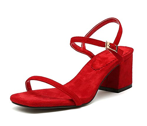 Bereift dick mit weiblichen Sandalen Schuhe Casual Sandalen Sommer Red