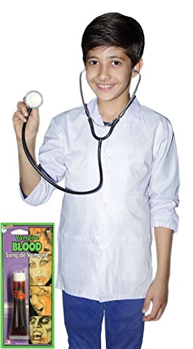 Kinder Unisex Mädchen Jungen Kostüm Halloween Ärzte Krankenhaus Tierarzt Mantel und Blut (Mädchen Tierarzt Kostüm)