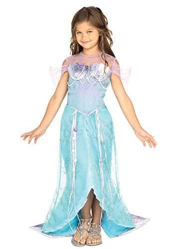 Mädchen Deluxe Kleine Meerjungfrau Prinzessin Buch Tag Woche Verkleidung Kleid Kostüm Outfit - Blau, Blau, 5-7 Years
