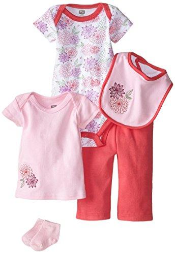 HUDSON BABY 58105 Baby Bekleidungs Set 5-teilig Blumen rosa Größe: 0-3 Monate