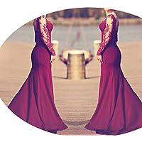 skirt Vestidos de Mujer Europeos Y Americanos, Vestido Sexy de Encaje de Otoño,Vino Rojo,L