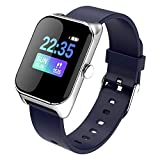 XYQS Bluetooth Smart Watch Cardiofrequenzimetro Fitness Tracker Braccialetto Intelligente Impermeabile Music Player per iOS Android Smartphone Regalo (Colore : Blu)