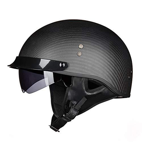 XGHW Elektrischer Motorradhelm Winter halbüberzogener Unisex-Anti-Fog-Helm für Vier Jahreszeiten (Farbe : Black 1, größe : M)