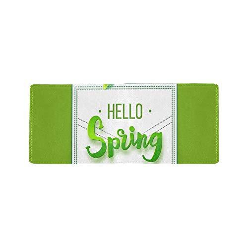 Hello Spring Welcoming Cool Lether Business Card Coin Id Pouches Holder Travel Clutch Purse Money Clip Bifold Wallet Case for Girls Men and Women Front Pocket Checkbook (Frame Passport Photo)