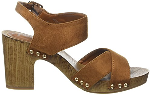 New Look - Wide Foot Pushed, Decolleté aperte sul retro con tacco Donna Marrone (Brown (18/Tan))