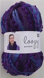 Rico Loopy Pompon Scarf Yarn - 9004 Berry Mix