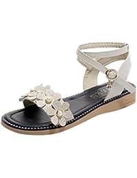 Sandalias para Mujer Verano 2018 PAOLIAN Playa Romano Zapatos de Plano Cuña Fiesta Sandalias de Vestir