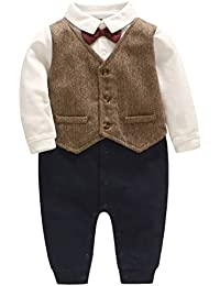 af8005d5be ARAUS Baby Boy Gentleman Christening Suit Formal Wedding Tuxedo Suit Long  Sleeve Bow tie Romper Blazer