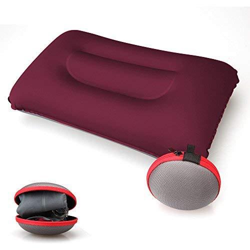 Koyoso Almohada Inflable de Acampada para el Cuello, Almohadas Hinchable de Viaje con Estuche de Transporte - Roseo