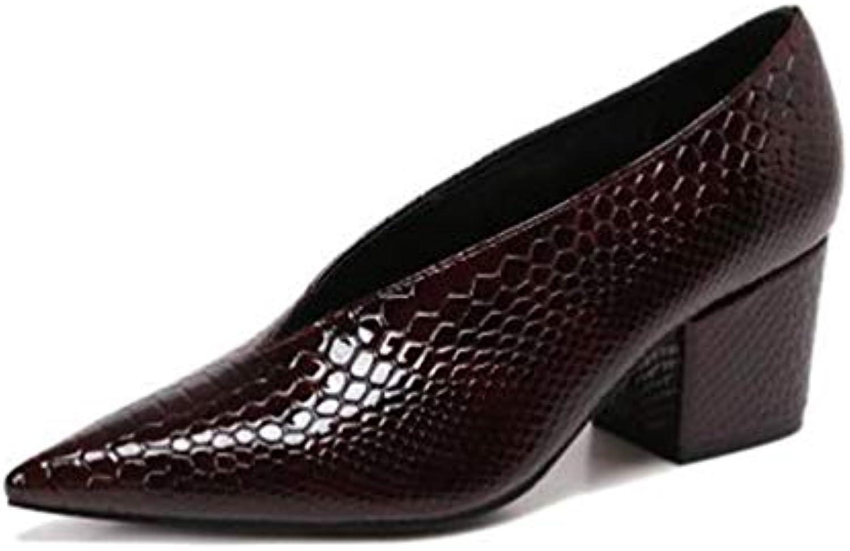 JRenok Bouche de Chaussures V Femmes Pompes Cour Fait Fait Cour tête Serpentine de Cuir Verni Talons Chaussures à Talons...B07KMCB8P8Parent b1cf5d
