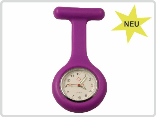 Schwesternuhr, Krankenschwesteruhr, Pulsuhr, Kitteluhr, Pflegeuhr - Silikon mit Anstecknadel, Farbe: violett