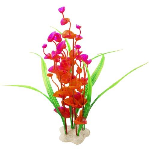 Jardin schmücken Traubenblätter Gras mit Floral Form Keramik Sockel für Aquarium, 21,1cm, grün/rot - Le Jardin Floral