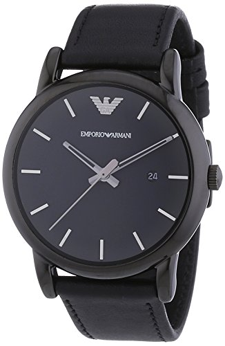 Emporio Armani Men's Quartz Watch with Black Dial Analogue Display and Black Leather Bracelet AR1732