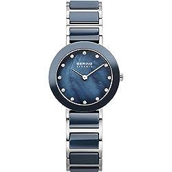 Bering Women's Ceramic 29mm Multicolor Steel Bracelet & Case Quartz Blue Dial Analog Watch 11429-787