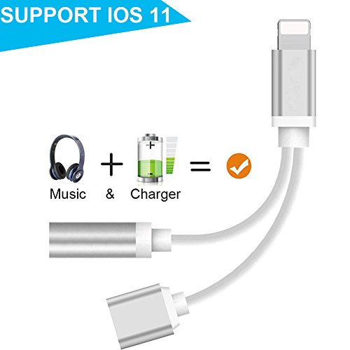 Price comparison product image Lightning Jack Adapter for iPhone 8 / 8 Plus iPhone X iPhone 7 / 7 Plus &iPad& iPod .Charge Converter and Headphone Splitter Adapter.2 in 1 Lightning Jack to 3.5mm Earphone Splitter Cable Adapter. Support iOS 10.3&11 or Later(Silver)