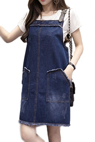 Damen ärmellose lose Pocket Denim Bleistiftkleid Blue
