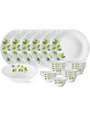 Larah by Borosil Green Leaves Silk Series Opalware Dinner Set