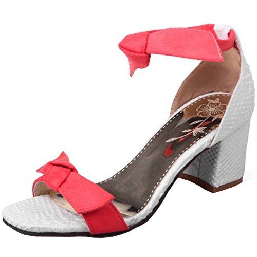 TAOFFEN Damen Mode Bogen Blockabsatz Sommer Sandalen mit Fesselriemen Rot