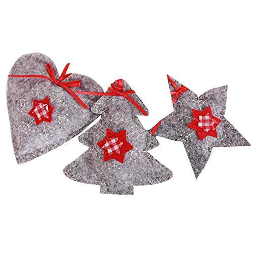Aiming 3pcs / Set Che appendono Gli Ornamenti in Tessuto Xmas Tree Home Auto a Natale Fai da Te dei Fiocchi di Neve Cuore Ciondolo Stella Non Tessuta