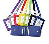 1PC de cuir pour cartes de crédit carte d'identité Coque support utile Sac à main avec cordon tour de cou collier Dos nu pour badge d'identification Multi emplacement pour carte de visite cou Red
