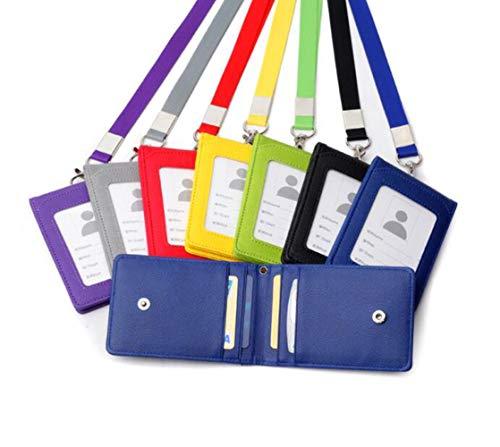 1 portadocumenti in pelle per carte di credito e documenti d'identità, utile borsetta con laccetto da collo, collana, porta tesserino d'identità, porta tessere, cordino da collo Nero
