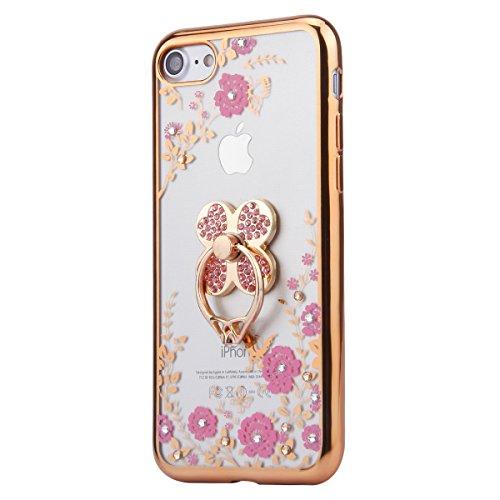 iPhone 7 Hülle,iPhone 7 Silikon Hülle Tasche Handyhülle,SainCat Flamingos Muster Ultra dünne Silikon Hülle Schutzhülle Durchsichtig Hadytasche Stoßfeste TPU Gel Case Bumper Weiche Crystal Kirstall Sil Gold Klee-Rosa Blumen
