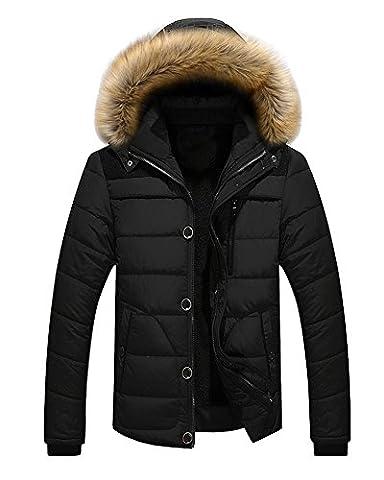Men's Winter Warm Jacket Hooded Parka Outwear Coat With Fur Hood Black Medium