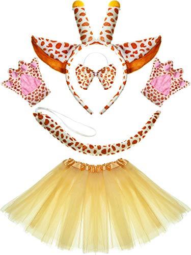 Set Dalmatiner Hund Giraffe Ohren Stirnband Schwanz Bowtie Pfoten für Cartoon Kostüm Gefälligkeiten (Giraffe) ()