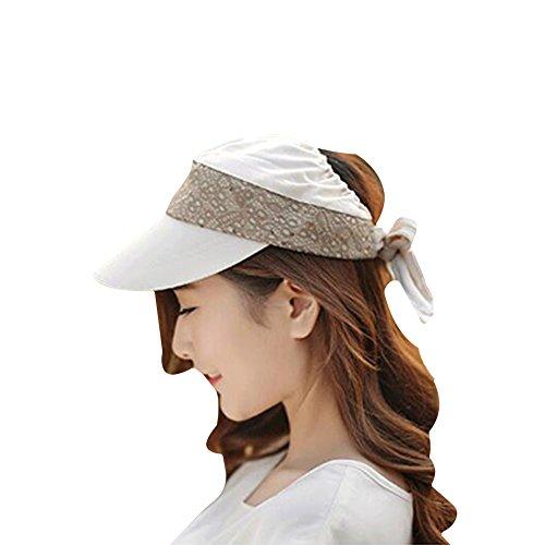 Surker Femmes Empty Top Sports Hat Baseball Hat Sun Hat Anti-Sun Hat Beige