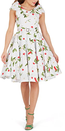 BlackButterfly Cynthia' Joy Rockabilly Floral 1950s Vintage Dress (White Red, UK 14)