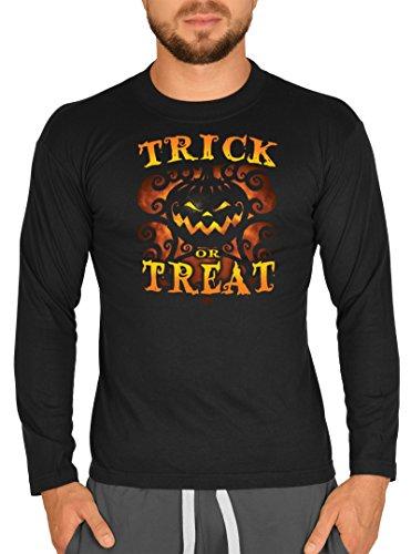 Halloween Langarm Herren T-Shirt Horror Trick or Treat Langarmshirt Grusel Shirt Grusel Kostüm Longshirt für Männer Männershirt Leiberl (Mega-mann-halloween-kostüm)
