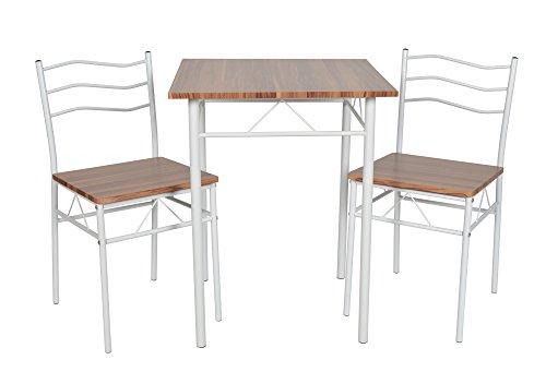 ts-ideen 3-teilige Essgruppe 3er Set Tisch Stühle Esstisch Küchentisch Alugestell weiß Tisch 60 x 60 cm für die Küche Esszimmer Studentenwohnung (Kleiner Weißer Küchentisch Set)