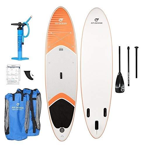 FIT OCEAN Magic Glide 10'8. Aufblasbares 15 cm Dickes Stand Up Paddelboard. Inkl. Doppelhub-Pumpe + guter Rucksack. iSUP 330x81x15cm (Board+Doppel Action Pumpe+ alu Paddel+Rucksack) -