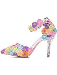 Moojm Donna Sandali Tacchi Alti Sandali Colorati Scarpe Da Sposa Scarpe Da  Sposa Con Punta A 326fd78bae8